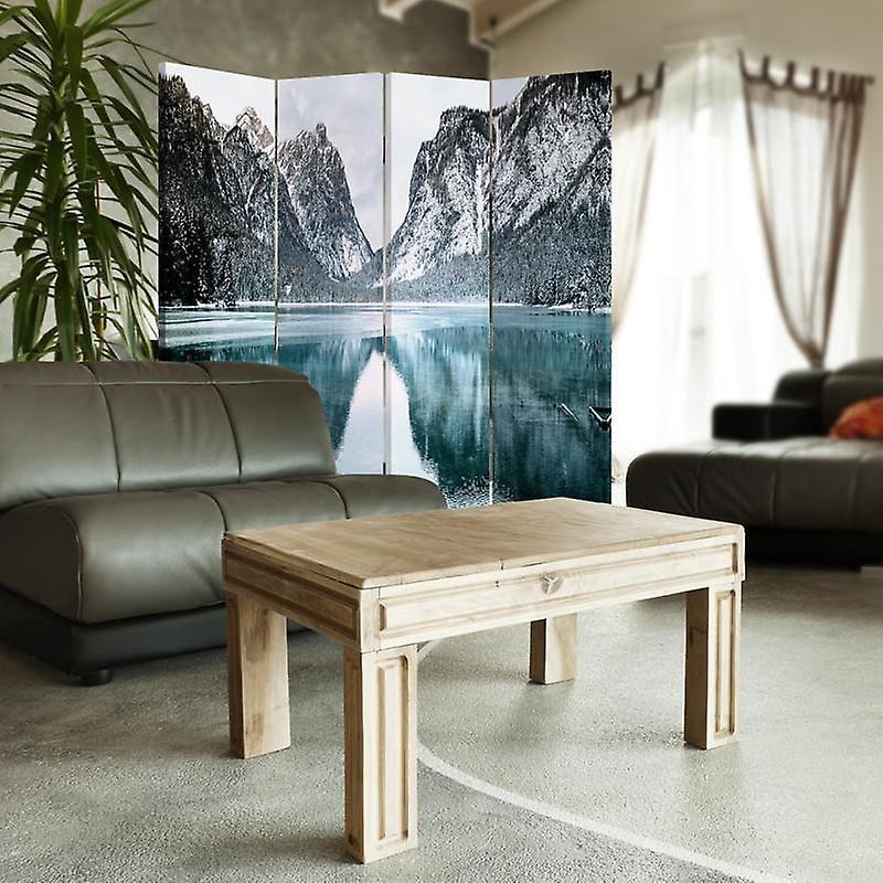 Diviseur de chambre, 4 panneaux, toile, paysage de montagne