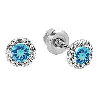 Dazzlingrock collectie 10K 4 MM elke ronde Blue Topaz & witte diamant dames Halo stijl Stud Earrings, White Gold
