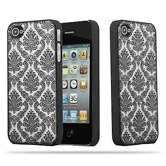 Apple iPhone 4 / iPhone 4S Hardcase Case in BLACK by Cadorabo - Flowers Paisley Henna Design Protective Case - Pokrywa tylnej obudowy zderzaka obudowy na telefon