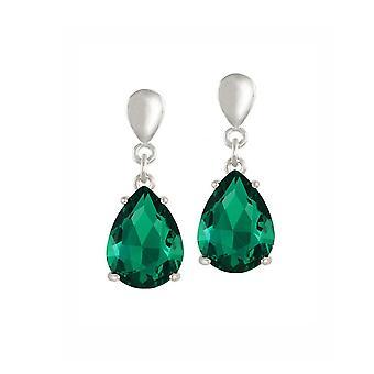Ewige Sammlung Verführung Teardrop Smaragd Kristall Silber Ton Drop Schraube zurück Clip auf Ohrringe