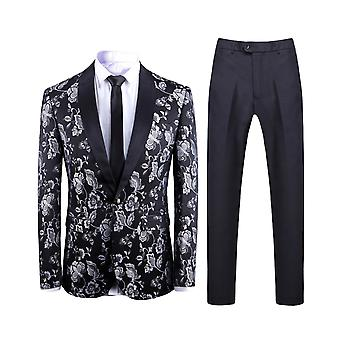 Allthemen Men's 2-Piece Suits Jacquard Shawl Collar Wedding Banquet Blazer&Pants