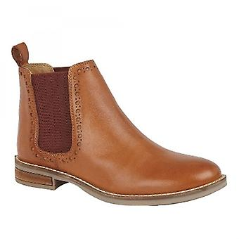 Cipriata Lidia Ladies Leather Brogue Detail Chelsea Boots Tan