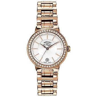 Rotary Womens Les Originales Gold Plate Crystal Set LB90085/02L Watch