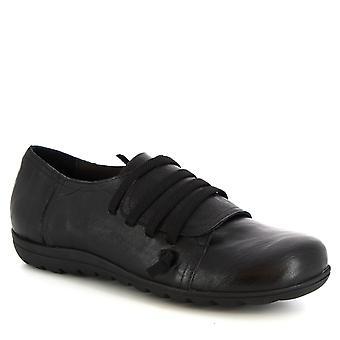Leonardo Schuhe Women's handgemachte Schnürschuhe aus schwarzem Kalbsleder