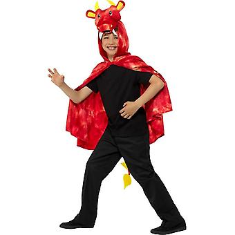 Dragon Cape Red & Yellow with Hood & Tail,Children's Animal Fancy Dress