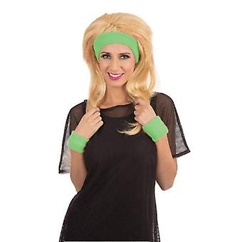 80s Headband/Wristband Set Green