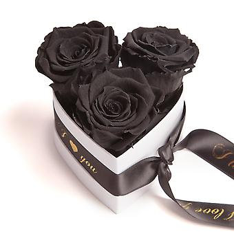 I Love You Roses Heart Box 3 Eternal Roses in Black Durable 3 Years