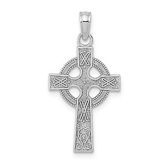 14k White Gold Sm Celtic Cross With Eternity Circle and Design Texture(2of Jewelry Gifts for Women