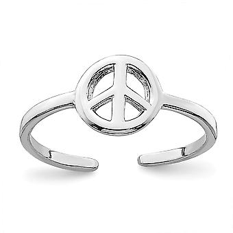 925 Sterling Silver Rhodium plated Peace Sign Toe Ring Jewelry Gifts for Women - .6 Grams
