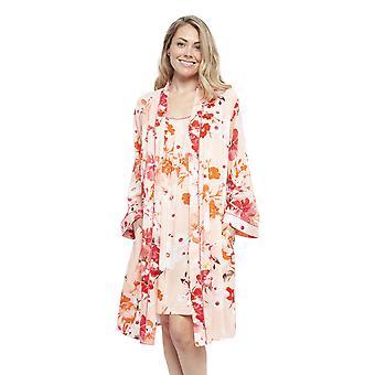 Cyberjammies 4429 Women's Darcie Coral Orange Floral Print Cotton Short Robe