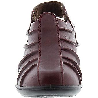 Easy Street Womens Manner Leather Round Toe Casual, Burgundy Burnished, Size 6.0