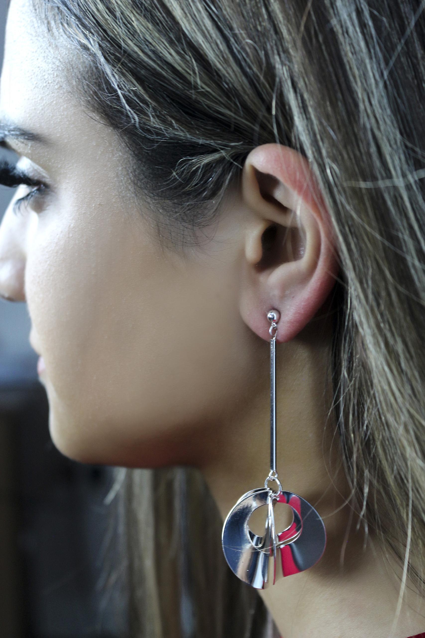Long Disc Drop Earrings - Silver
