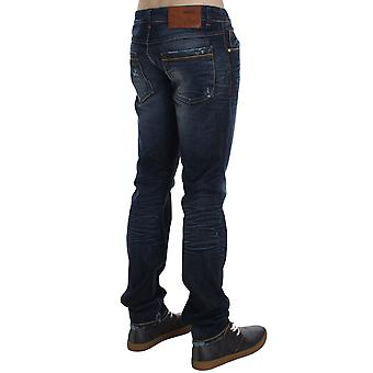 Acht Blue Wash Cotton Denim Creased Slim Fit Jeans