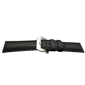 עגל עור שעון רצועה שחורה מרופדת עבור panerai עם אבזם שעון panerai