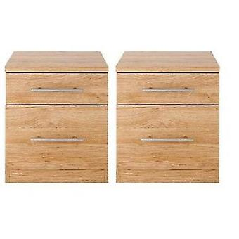Pair Of Prague 2 Drawer Bedside Tables Oak