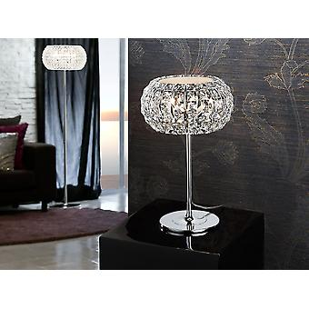 Schuller Diamond - Tablelamp of 3 ligths made of metal chromed finish. Shade composed by square clear crystals. Top diffuser of opal glass included. Plug type G (UK). - 508424UK
