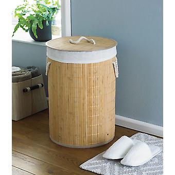 Country Club Round Bamboo Laundry Basket, Natural