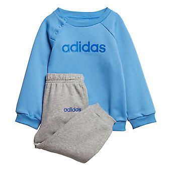 adidas Linear Jogger Infant Toddler Kids Jumper Trouser Tracksuit Set Blue/Grey