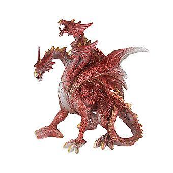 Red Metallic Three Headed Hydra Angry Dragon Statue