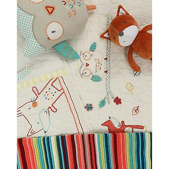 The Essential One Fox And Owl Hand Embroidered Coverlet