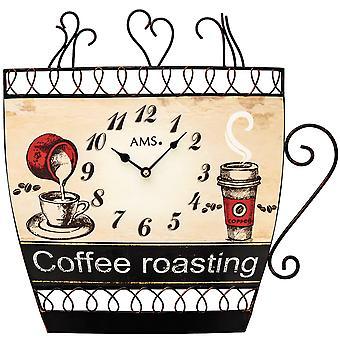 AMS 9533 kitchen clock wall clock kitchen quartz analog Brown motif coffee cup coffee