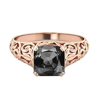 2.00 CT 14K Rose Gold Black Diamond Ring Vintage Art Deco Vine