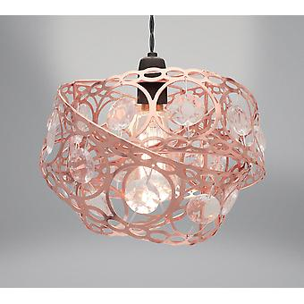 Country Club Metal Light Fitting, Rose Gold Gem Wrap