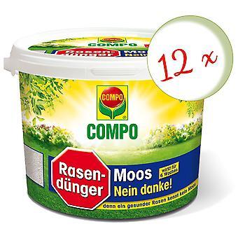 稀疏: 12 x COMPO 草坪肥料莫斯 - 不, 谢谢!, 4 公斤