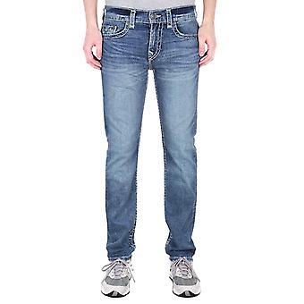 True Religion Rocco Relaxed Skinny Neon Super T Dark Champion Blue Denim Jeans
