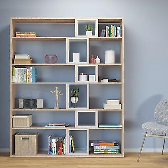 Libreria Sammie Color Bianco, Legno Naturale in Truciolare Melaminico 150x29x184 cm