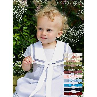 Christening Gown In Cotton With White Collar And 10 Free Choices Of Bow - Grace Of Sweden