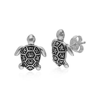 Classic Round Marcasite Turtle Stud Earrings in 925 Sterling Silver 214E869401925