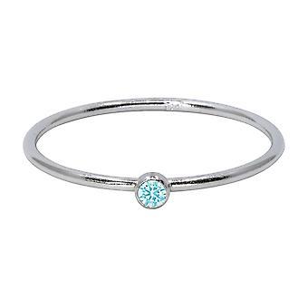 Sterling Silver mars Birthstone Stapling Ring 2mm Aquamarine Cubic Zirconia