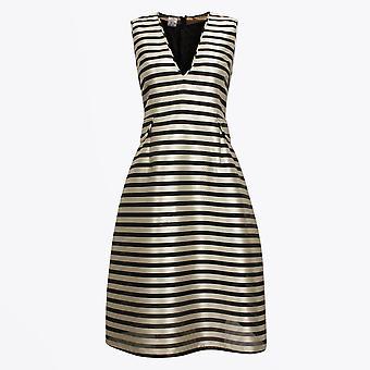 Baum Und Pferdgarten  - Adelis - Stripe V-neck Dress - Black/White