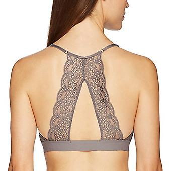 Brand - Mae Women's Galloon Lace Back Detail Bralette (for A-C cups),Charcoal Grey,Medium