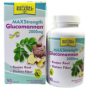 Équilibre naturel, Glucomannan, Résistance maximale, 2 000 mg, 90 capsules