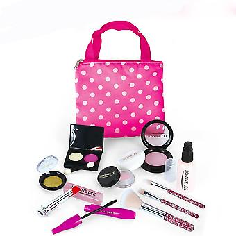 Pretend Play Princess Pink Makeup Beauty Safety Non-toxic Kit Toys For Girls- Dressing Cosmetic Travel Bag