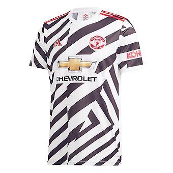אדידס מנצ'סטר יונייטד 2020/21 Mens שרוול קצר חולצת כדורגל שלישית לבן