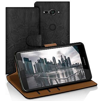 Vintage book case with card compartment for Sony Xperia XZ2 Compact Stylish Leather Ette Black