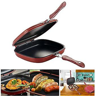 Stainless Steel Double Side Grill Fry Pan Cookware - Non Steak Fry Pan