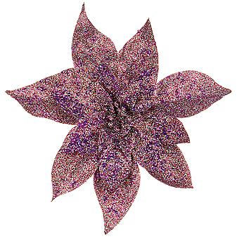 25cm Purple Glittered Angled Clip-On Poinsettia Christmas Decoration