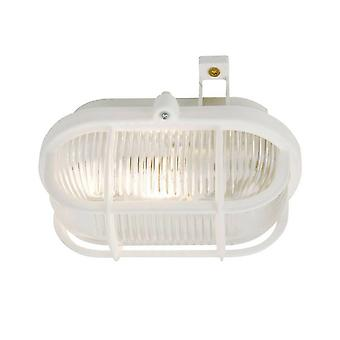 1 Light Outdoor Bulkhead Wall Light White IP44, E27