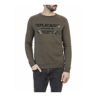 Replay Round Neck Cotton Green Sweatshirt