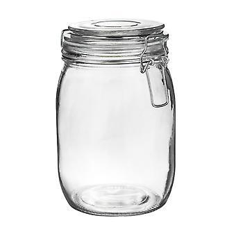 Argon Geschirr Glas Aufbewahrungsglas mit luftdichten Clip Deckel - 1 Liter - weißes Siegel
