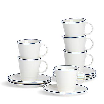 Nicola Spring 12 Piece Country Farmhouse White Espresso Cup and Saucer Set with Blue Rims - 90ml