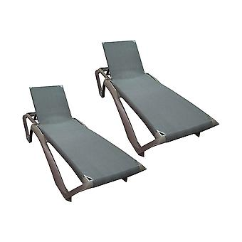 Resol Marina Garden Sun Lounger Bed - Adjustable Reclining Outdoor Summer Furniture - Dark Brown - Pack of 2