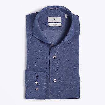 Thomas Maine  - Knitted Herringbone Shirt - Navy