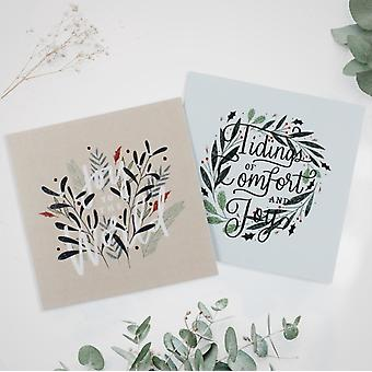 Floral Foliage 10Pack Christmas Cards by Spck & Spck