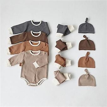 طفل حديث الولادة ملابس النوم بيجامة - رومبر + السراويل + قبعة
