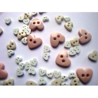 Trimits Teeny Tiny Mini Heart Craft/ Doll Buttons 3 Sizes - White/Pinks